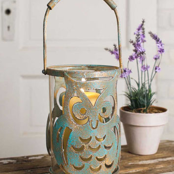 Patina Owl Candle Holder