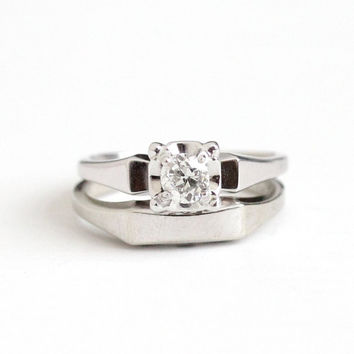 Vintage 14k White Gold 1/4 Carat Diamond Engagement Ring & Wedding Band Set - Size 5 1/2 Mid Century Dated 1957 Classic Bridal Fine Jewelry