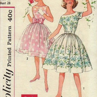 Retro Rockabilly Swing Dress 50s Simplicity Sewing Pattern Girls Circle Skirt Dress Fit & Flare Party Holiday Tea Dress Bust 29