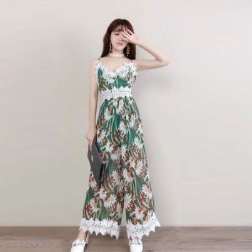 2017 New summer casual flower print long rompers womens jumpsuit Sexy v neck lace patchwork loose Streetwear elegant ladies chi