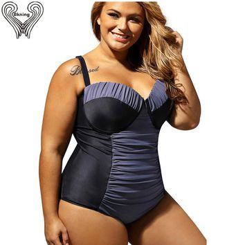Plus Size Swimwear Female Underwire Super Push Up One Piece Swimsuit Women Sexy One Piece Swim Suits 2017 Large Size Swimsuits