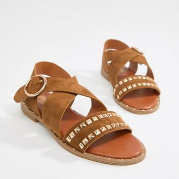 Truffle Collection Studded Flat Sandals at asos.com