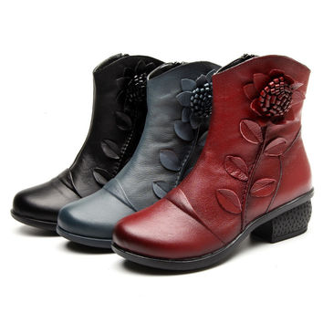2016 New Women's Fashion Winter Warm Genuine Leather Ankle Boots Women Oblique Zipper Floral Boots for Women Red Black Blue