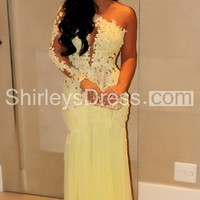[ $176.69 ]Magnificent and Super Sexy One Shoulder See-through Lace and Sheer Backless Long Evening Gown