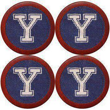 Yale University Needlepoint Coasters in Navy by Smathers & Branson