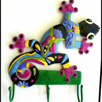 "Painted Metal Gecko Wall Hook - Tropical Decor - Steel Drum Art of Haiti - 12"" x 15"""