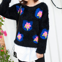 Black Floral Print Fur Sweater