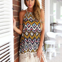 Ethnic Print Halter Neck Backless Fringed Shift Mini Dress