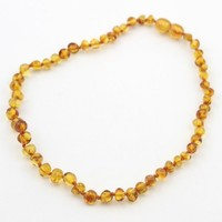The Art of Cure Baltic Amber Teething Necklace (Unisex) (HONEY) - Anti-inflammatory, Drooling & Teething Pain Reduce Properties - 100% Authentic Certificated Baltic Jewelry with the Highest Quality Guaranteed. Easy to Fastens with a Twist-in Screw Clasp Mo