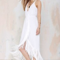 Nasty Gal Movers and Shakers Fringe Dress - White