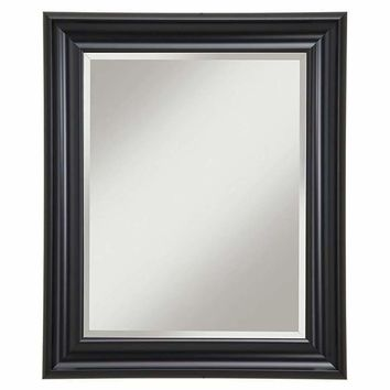 Polystyrene Framed Wall Mirror With Beveled Glass , Black