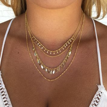 Four Lane Gold Layered Necklace