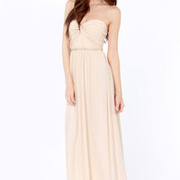 Your Twist is On My List Beaded Light Peach Maxi Dress