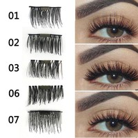 1Pair Magnet Eyelashes Cross Thick False Eye Lashes Extension Makeup Natural Long Magnetic Eyelashes With Box #250087