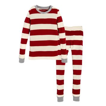 Burt's Bees Rugby Stripe Organic Big Kids Holiday Pajamas
