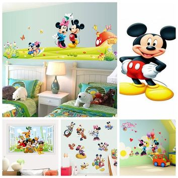 Hot Mickey Mouse Minnie mouse wall sticker children room nursery decoration diy adhesive mural removable vinyl wallpaper DE5086