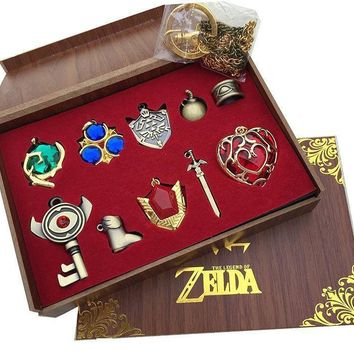 The Legend of Zelda Logo Link Necklace Keychain Pendant Keys Collection Gift Box Cosplay Toy