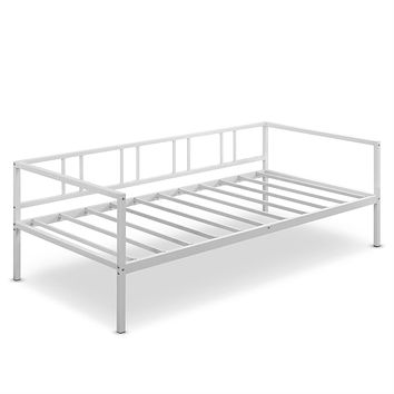 Twin size Sturdy Metal Daybed Frame in White Finish