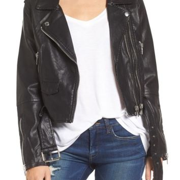 BLANKNYC Faux Leather Crop Moto Jacket | Nordstrom