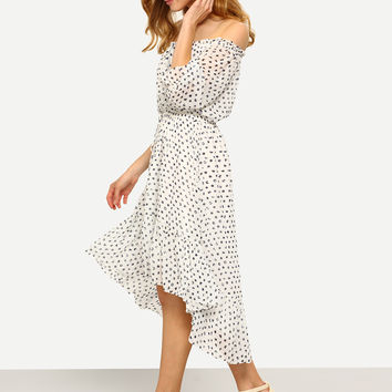 Black White Print Midi Ruffle High Low Dress