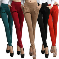 2016  Women's Summer  Trouser Fashion Full Length Pocket Plus size 3XL Loose Casual Sport  Harem Pants DF181