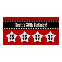 35th Birthday Red Black White Stars Banner V35S Print