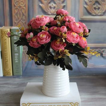 New Hot Vivid Autumn Artificial Fake Peony Flower Home Hotel Room Bridal Wedding Hydrangea Decor Real Touch