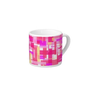 Pink Rectangles Espresso Cup from Zazzle.com