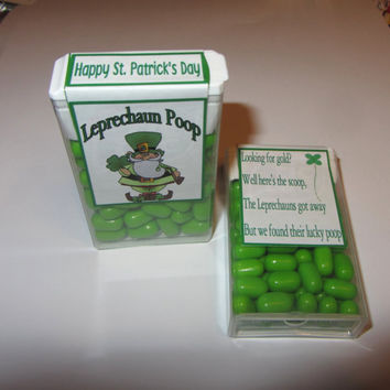 LEPRECHAUN POOP,candy,tic tacs,labels,stickers,kids,favors,with poem