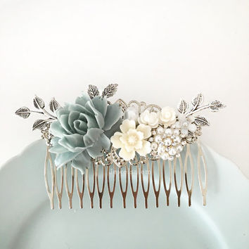 Dusky Blue Wedding Comb, Sterling Gray Mercury Blue Silver Bridal Hair Comb, Rhinestones Crystal Hair Slide, Romantic Pearl Hair Clip