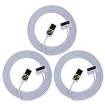 High Quality Value Combo Heavy Duty 2m/6ft USB to 30 pin Port Cables for iPhone 3G, 3GS, 4, 4S - 3 Pack - Whit - Sears