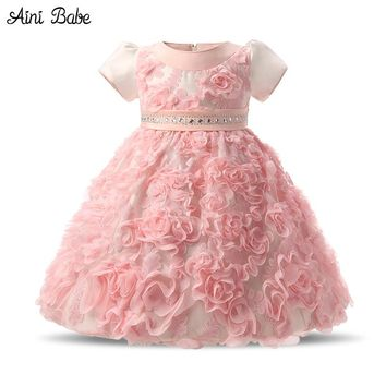 Flowers Baby Frock Designs Newborn Baby Girl Baptism Gown Tutu First Birthday Dress For Infant Kids Party Formal Dress Clothing
