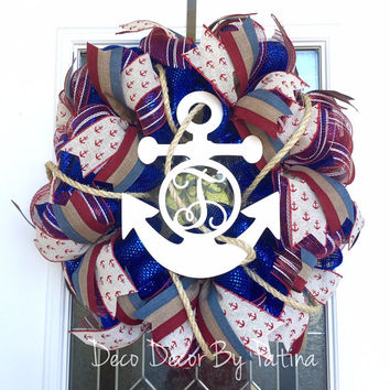 Monogram Anchor Wreath - Anchor Wreath - Nautical Wreath - Anchor Door Hanger - Anchor Decor - Monogram Decor - Anchor Monogram