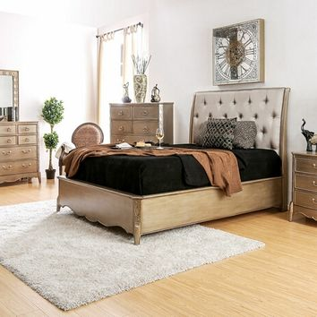 5 pc Celine collection contemporary style brushed gold finish wood tufted and padded queen bedroom set