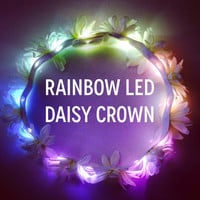 White daisy crown with Rainbow LEDs