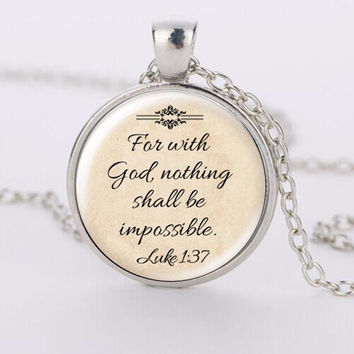 Jesus Jewelry Christian Necklace Faith With God Nothing is Impossible Jewelry Glass Saying Pendant