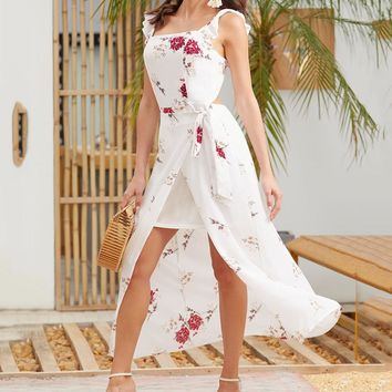Summer Fashionable Women Flower Print Sleeveless Backless Sling Dress