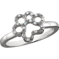 ASPCA Tender Voices® Sterling Silver .06 CTW Diamond Paw Ring Size 7