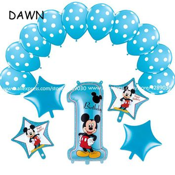 15pcs/lot mickey minnie mouse number 1 helium foil balloons dot latex globos baby shower birthday party decor supplies kids toys