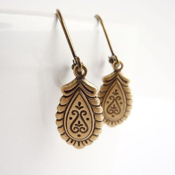 Drop Earrings Victorian Style Brass Charms by KittyBallistic