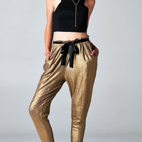 METALLIC GOLD RIBBON TIE HAREM PANTS