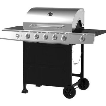 Stainless Steel and Black Portable 5 Burner Gas BBQ Barbeque Grill with Storage Patio Grill With Storage Shelves
