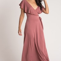 Candace Mauve Ruffle Wrap Maxi Dress