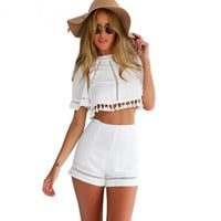 Summer Women Clothing 2015 Women's Tops And Pants Two Piece Outfit Fashion White Crop Top Blouse Shirt&Short Pant