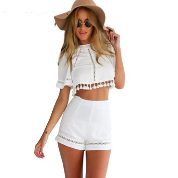 Free Shipping Summer Women Clothing 2015 Women's Tops And Pants Two Piece Outfit Fashion White Crop Top Blouse Shirt&Short Pant