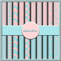 "COMMERCIAL USE OK 20 Pastel Turquoise Blue And Pink Digital Scrapbook Papers, 12""x12"" 300Dpi Instant Download"
