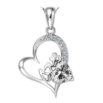 Small Cubic Zirconia heart Pendant Necklace