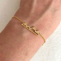 Gold Mountain Range Bracelet, dainty adjust delicate petite chain link range graduation travel gift for her girlfriend wife
