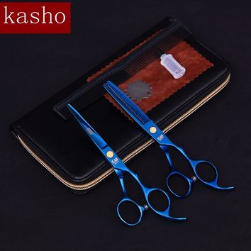 2pcs set Kasho professional hairdresser's scissors hairdressing scissors hair cutting scissors barber thinning shears hair cut