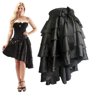 Multilayer Ruffle Bows Sexy Steampunk Corsets And Bustiers